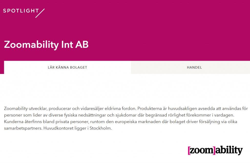 Zoomability nu på Spotlight Stock Market